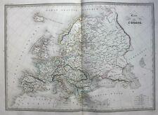 Original antique map, EUROPE, 'Carte de L'Europe', Malte-Brun, 1846