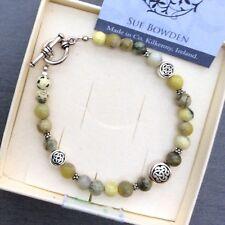 Irish designer jewelry. Lasting Connemara marble gemstone Celtic bracelet