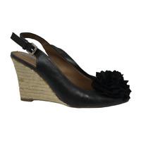 Franco Sarto Womens Sandals Salem Wedge Slingback Peep Toe Shoes Black Size 7.5