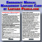 Emergency Medical Management - Medical Reference Lanyard Badge Card