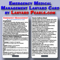 Emergency Medical Management - Medical Reference Lanyard Badge Card