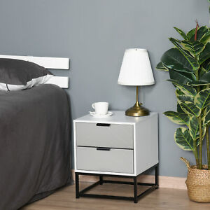 Bedside Cabinet Nightstand 2 Drawer Unit Storage and Metal Base for Home Office