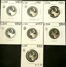 1981 to 1995 Canada 25 Cents Lot of 7 Proof #5848