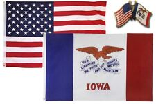 Wholesale Combo USA & State of Iowa 3x5 3'x5' Flag & Friendship Lapel Pin