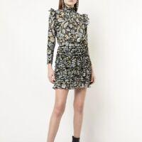 ROBERT RODRIGUEZ Nikita Floral Print Ruffle Turtleneck Dress (Size 2) NWT $595