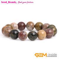 "Natural Yellow Ocean Jasper Round Beaded Stretch Healing Fashion Bracelet 7"""