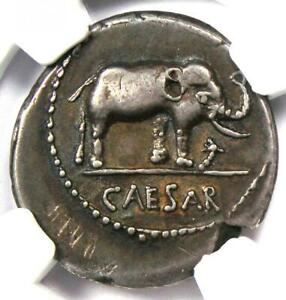 Julius Caesar AR Denarius Silver Elephant Coin 49-48 BC - Certified NGC XF (EF)