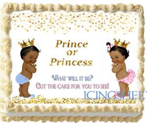 Prince Princess ethnic Gender Reveal Baby edible cake top Icing boy or girl