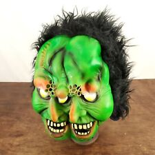 VINTAGE Fun World 2 Faced Green Rubber/Latex Mask Halloween Costume Black Hair