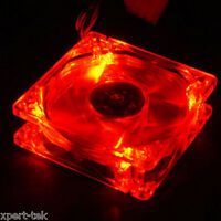 80mm 4-LED Light Neon Quite Clear PC Computer case Bearing Fan Cooling Mod RED