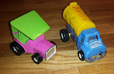 Vintage TOPPER Toys Zoomer Boomers Metal Cars 2 Pink/Green Smash Can Blue Truck
