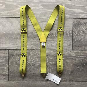 gosha rubchinskiy Mens One Size Yellow Hazard Street Punk Suspenders / Braces
