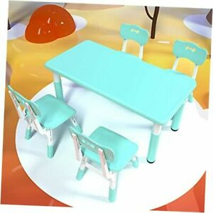 Children's Furniture Table and Chair Set 7 Levels Blue (5 Piece Set)