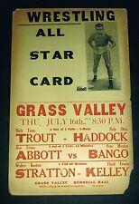 RARE 1936 TEXAS wrestling poster  Dick Trout Haddock Abbott Bango Stratton Kelly