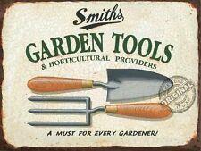 Smiths Garden Tools, Gardening, Gardener, Fork Trowel Old, Medium Metal/Tin Sign