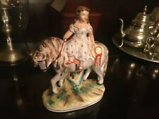 Antique Porcelain Girl on Horse Figurine French Art Pottery 9 inch 1780
