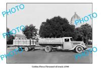 OLD LARGE PHOTO GOLDEN FLEECE FIREZONED OIL TRUCK c1950