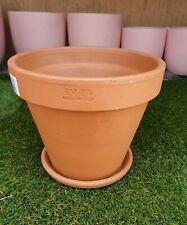 23cm Outdoor Garden Patio Plant Italian Terracotta Round Planter Pots Saucers