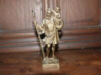 zierliche ca.100 Jahre alte Bronzefigur Bronze Figur Christophorus massiv Bronze