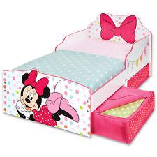 Kinderbett + Schubladen Disney Minnie 140x70cm Jugendbett Juniorbett Holz weiß