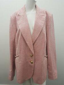 Marina Rinaldi Pink Checked Jacket Gold Buttons Size 29 (12b)