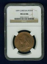 GREAT BRITAIN VICTORIA  1899 1 PENNY, CHOICE UNCIRCULATED, CERTIFIED NGC MS64-RB