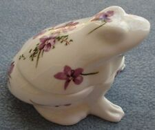 Hammersley Victorian Violets Frog Shaped Covered Box Bone China ENGLAND Mint!