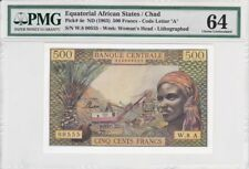 Equatorial African States/Chad 1963 500 Francs P-4e PMG Choice Unc 64