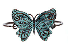 Hook Bracelet Womens Steampunk Industrial Butterfly Patina Blue Distressed