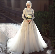 Vintage Wedding Dresses High Collar Appliqued Beaded A Line Muslim Bridal Gown