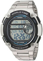 Casio Men's Digital 100m Silver Resin/Stainless Steel Watch AE3000WD-1AV