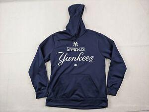 Majestic New York Yankees Hoodie Adult Medium Men Blue White Lightweight MLB