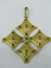 Large Emerald Accent Ornate 18k Yellow Gold Cross Pendant