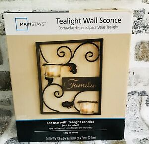 Mainstays Family Theme Tealight Wall Sconce Home Decor-New in Box - Great GIFT!