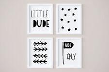 Set of 4 Little Dude Boys Room Stars Kids Nursery Wall Art Prints Black & White