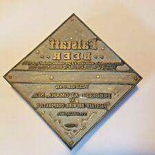 Falstaff Beer Metal Wooden Block Printing Ink Stamp Vintage Tax Info Rare