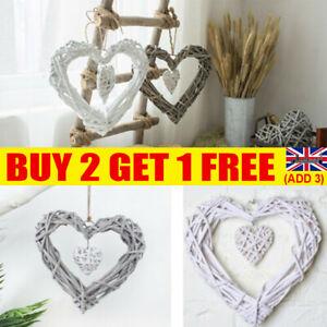 White Willow Wicker Hanging Heart Shabby Chic Wedding Wreath Home Decor UK