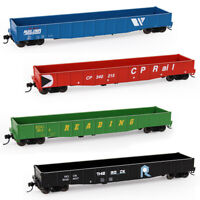 2pcs HO Scale 1:87 53ft Low-side Gondola Car Railway Wagons Model Train Carraige