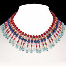 Miriam Haskell Egyptian Revival Collar Necklace Blue & Red Beaded Dangle Vintage