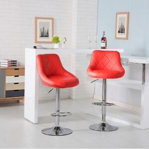 2Pcs Bar Stools Faux Leather Barstool Kitchen Pub Stool Breakfast Bar Chair