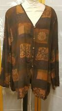 NWOT Meng Designs Rayon Batik Shirt Top XL X Large  SUPER