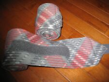 New set of 2 coral/grey plaid horse polo wraps (horse/pony leg wraps)