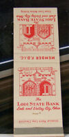 Rare Vintage Matchbook Cover B3 Lodi Valley City Ohio State Bank Illustration