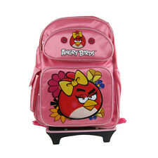 Brand New Angry Birds Pink Travel School Rolling Bag Backpack Back Pack 16""
