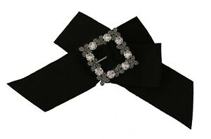 DOLCE & GABBANA Hair Clip Black Cotton Bow Clear Crystal Gray Flower RRP $650
