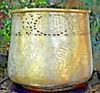 Large Antique Persian Arabic Islamic Damascus Brass Reticulated Jar Pot Bowl