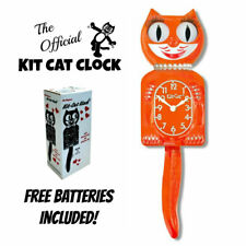 "PUMPKIN DELIGHT LADY KIT CAT CLOCK 15.5"" Orange Free Battery MADE IN USA Kit-Cat"