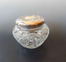 Homan MFG Co. Antique Vanity Powder Jar Glass Quadruple Plate Metal
