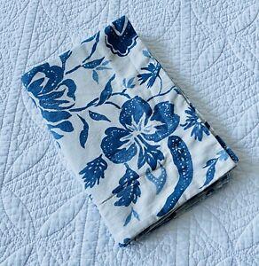 Pottery Barn Block Print Blue Floral Linen Blend Standard Size Pillow Sham ~ EUC