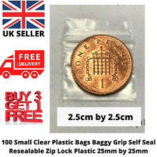 100x Small Clear Plastic Bag Grip Self Seal Resealable Lock NEW BAG 25mm by 25mm